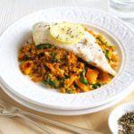 Spiced bulgur pilaf with fish