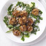 Teriyaki chicken meatballs with rice & greens