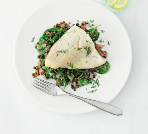 Smoked haddock with lemon & dill lentils Recipe