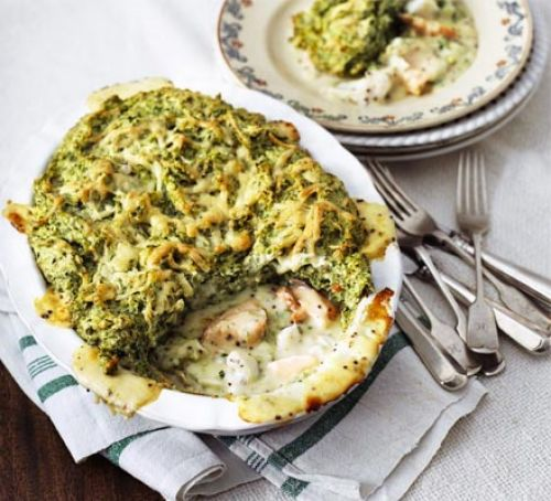 Puffed salmon & spinach fish pie Recipe