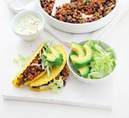 Smoky pork & black bean tacos Recipe