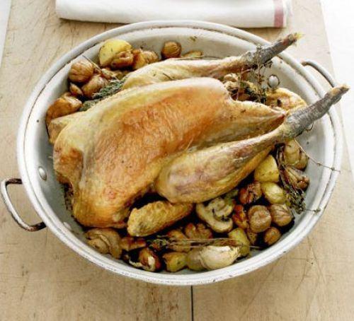 Guinea fowl with roast chestnuts Recipe