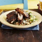 Sticky jerk & brown sugar ribs with pineapple rice