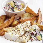 Roast fish & chips with orange raita