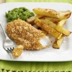 Crispy fish & chips with mushy peas