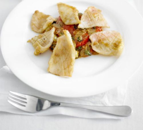 Crispy squid with caponata Recipe