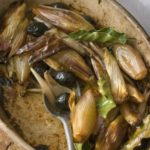 Roasted shallots with olives, bay & balsamic