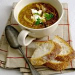 Roasted onion Soup with goats cheese toasts recipe