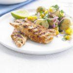 Smoky chicken with warm corn & potato salad
