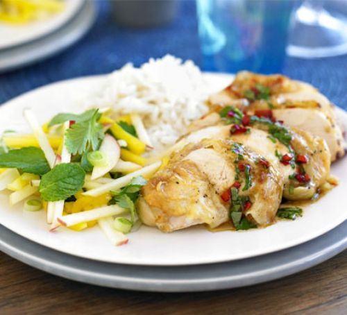 Thai roast chicken with mango & apple salad Recipe