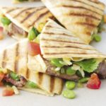 Beef, cheese & broad bean quesadillas