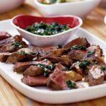 Charred steak with chimichurri sauce