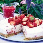 Pink strawberry cheesecake
