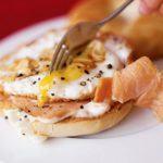 Flash-fried smoked salmon & egg bagel