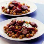 Warm chickpea, chorizo & pepper salad