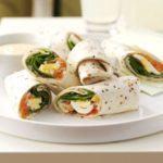 Salmon & egg wraps with mustard mayo
