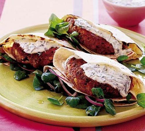 Beany burgers with basil tzatziki Recipe
