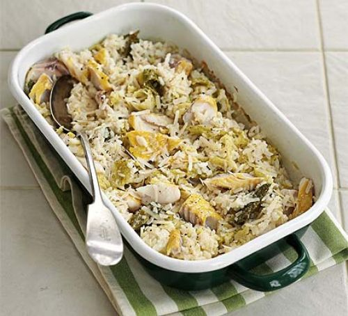Baked haddock & cabbage risotto Recipe