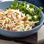Hot-smoked salmon with creamy pasta & pine nuts