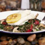 Roast brill with puy lentils & shiitake mushrooms
