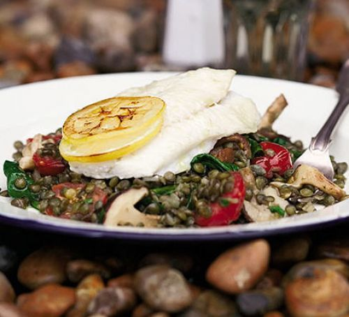 Roast brill with puy lentils & shiitake mushrooms Recipe