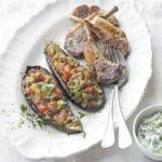 Imam bayildi with BBQ lamb & tzatziki
