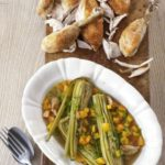 Roast chicken with braised celery hearts