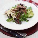Pan-fried steak & parsnip salad