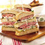 Triple-decker steak sandwich