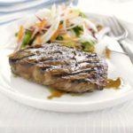 Teriyaki steak with fennel slaw