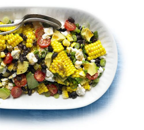 Spicy corn, black bean & feta salad Recipe