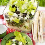 Layered hummus, tabbouleh & feta picnic bowl