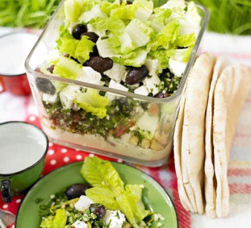 Layered hummus, tabbouleh & feta picnic bowl Recipe
