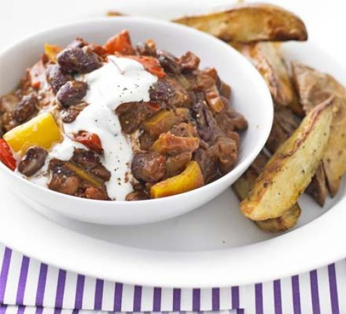 Mixed-bean chilli with wedges Recipe