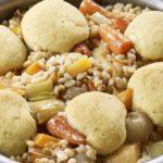 Vegetable stew with herby dumplings