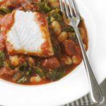 White fish with spicy beans and chorizo