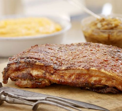 Sticky slow-roast belly of pork Recipe