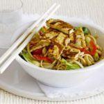 Sesame & honey tofu with rice noodles