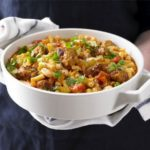 Bean & pasta stew with meatballs
