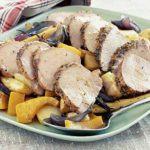 Herbed pork fillet with roast vegetables