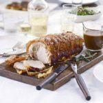 Roast loin of pork with sage & onion stuffing & gravy