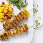 Jerk chicken kebabs with mango salsa