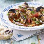 Clam, chorizo & white bean stew