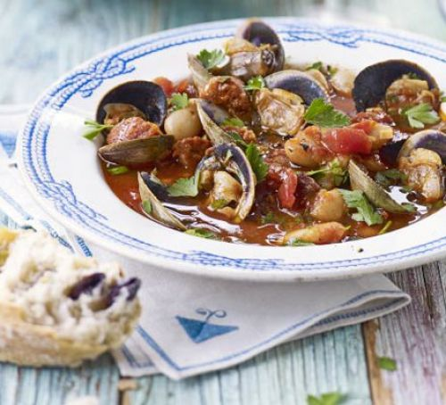 Clam, chorizo & white bean stew Recipe