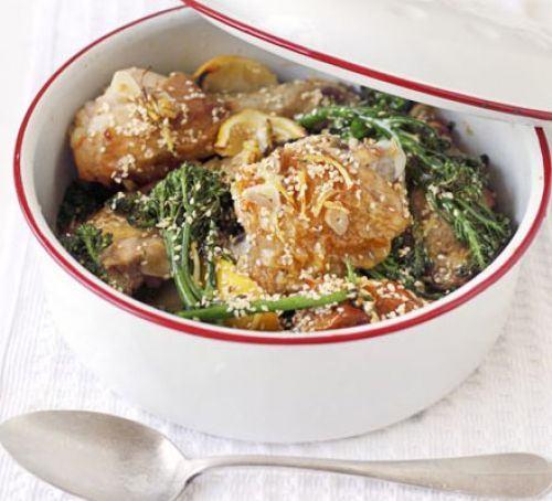 Lemon, broccoli & sesame roast chicken Recipe