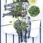 Skewered sardines with tartare dressing