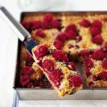 Raspberry & almond traybake