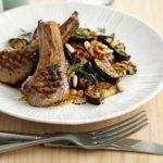 Lamb chops with smoky aubergine salad