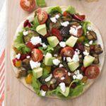 Roasted vegetable & feta tostada