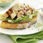Open chicken Caesar sandwich